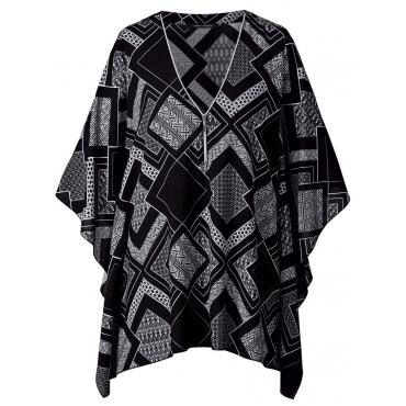 Poncho-Bluse Sara Lindholm schwarz/weiß
