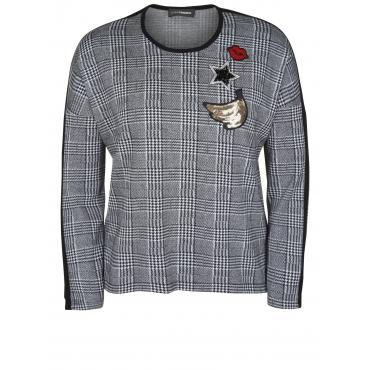 Pullover im Glencheck-Muster Doris Streich schwarz-weiß