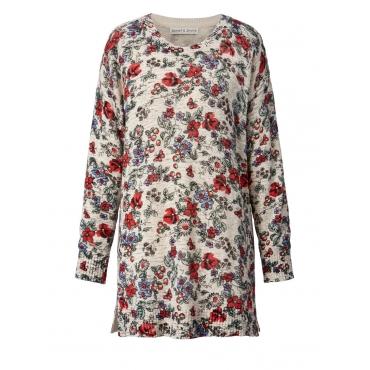 Pullover mit Blumen-Print Janet & Joyce grau melange bedru