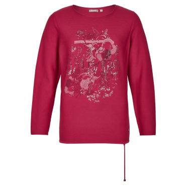 Pullover mit Blumen-Print und Ziersteinen Rabe ERIKA