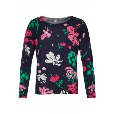 Pullover mit Blumen und Schmetterlingen Rabe MARINE