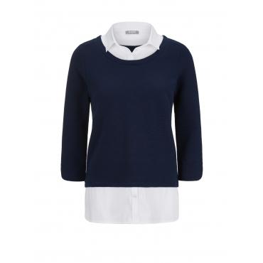 Pullover mit Bluse und Rippenoptik Rabe blau