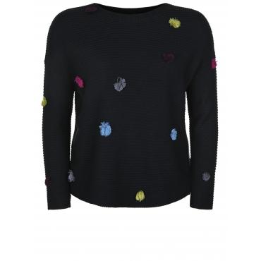Pullover mit bunten Pom Poms Doris Streich multicolor