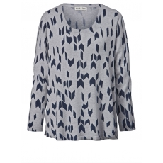 Pullover mit grafischem Print Janet & Joyce grau melange bedru