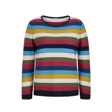 Pullover mit Ringelmuster und Rollsäumen Rabe blau