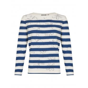 Pullover mit Ringeln und Blumenprint Thomas Rabe DARK BLUE