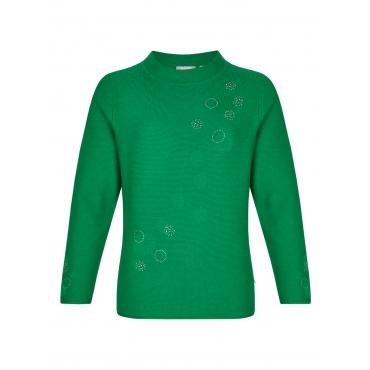 Pullover mit Rippenstrick und feinen Kreisen Rabe BLATTGRUEN