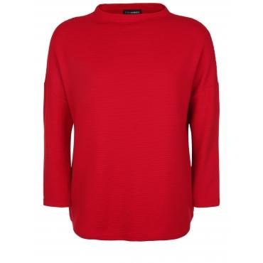 Pullover mit Rippstrick-Muster Doris Streich rot