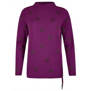 Pullover mit schimmernden Kreisen und Stehkragen Rabe HOLUNDERBEER