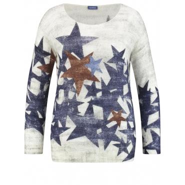 Pullover mit Sternen-Print Samoon Offwhite Druck