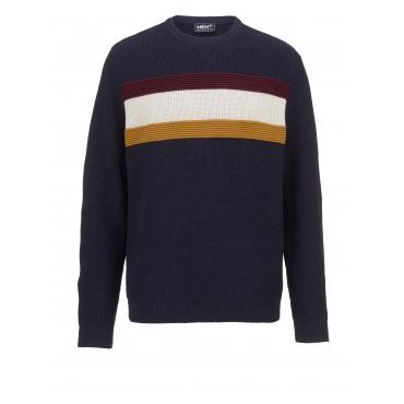 Pullover mit Streifen Men Plus marine/bordeaux