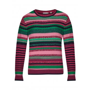 Pullover mit Strickmuster-Mix und Ringeln Rabe ERIKA