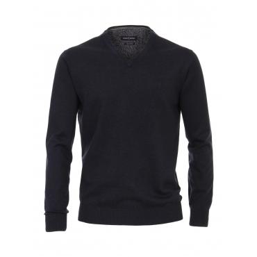 Pullover mit V-Ausschnitt uni CASAMODA graues Dunkelblau