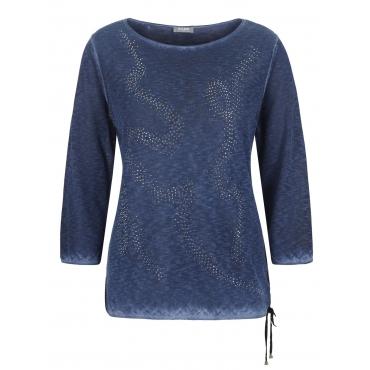 Pullover mit Ziersteinen und Schleife Rabe blau