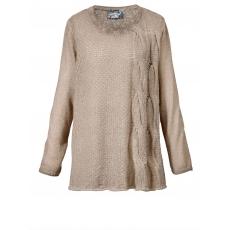 Pullover mit Zopfmuster No Secret beige oil wash