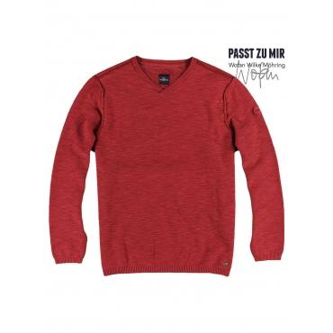 Pullover V-Ausschnitt Engbers Blutrot