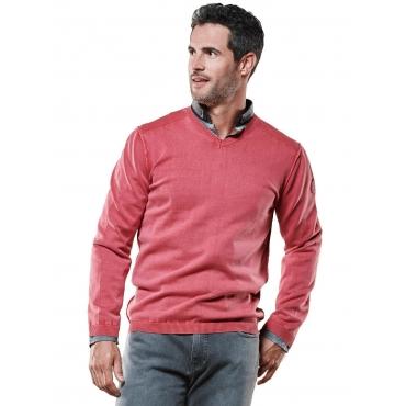 Pullover V-Ausschnitt Engbers Lachsrot