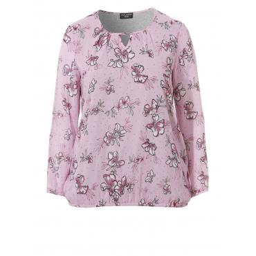 Romantische Bluse mit floralem Print Via Appia Due orchidee multicolor | 263
