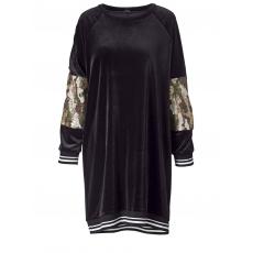 Samtkleid mit Camouflage-Pailletten-Einsatz mat. schwarz