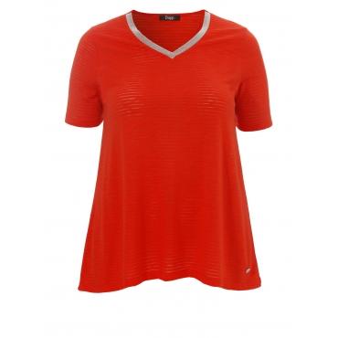 Semitransparentes T-Shirt mit Zierperlen Frapp fire red