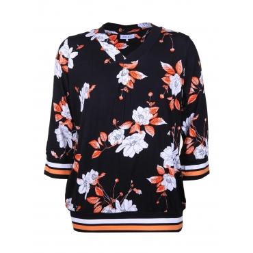 Shirt BEATRIX mit 3/4-Arm Zhenzi black/orange