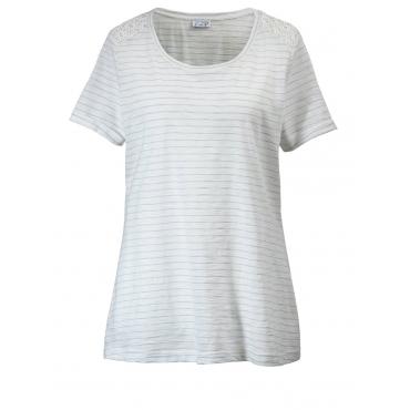 Shirt gestreift mit Spitze Angel of Style weiß/hellblau