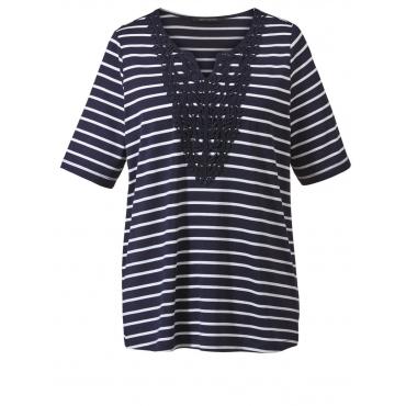 Shirt gestreift mit Spitze Sara Lindholm marine/weiß
