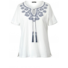 Shirt im Ethno-Style mit Bindeband Sara Lindholm ecru