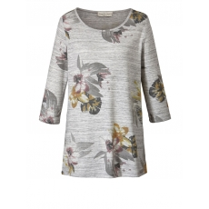 Shirt in Melange-Optik mit floralem Print Janet & Joyce grau melange