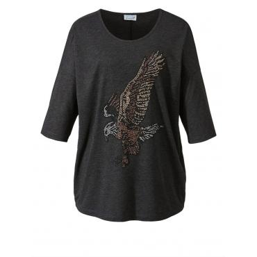 Shirt in Oversize-Form mit Adler aus Glitzersteinen Angel of Style anthrazit-melange