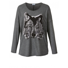 Shirt in Oversize-Form mit Frontprint Angel of Style aubergine
