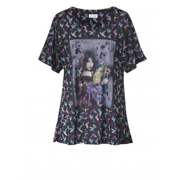 Shirt mit Allover-Print Angel of Style schwarz/gemustert