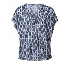 Shirt mit Allover-Print Samoon blau bedruckt