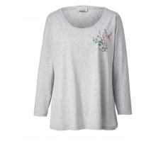 Shirt mit Blumen-Print Angel of Style grau-melange