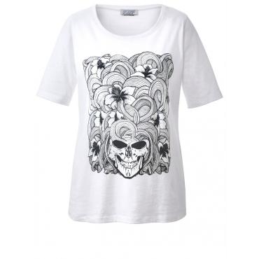Shirt mit Frontprint aus Blumen und Totenköpfen Angel of Style weiß