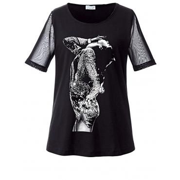 Shirt mit Frontprint & Glitzersteinchen Angel of Style schwarz