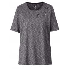 Shirt mit Glitzersternen Via Appia Due schwarz-ecru