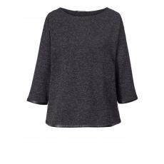 Shirt mit Lederimitat Sara Lindholm schwarz/weiss