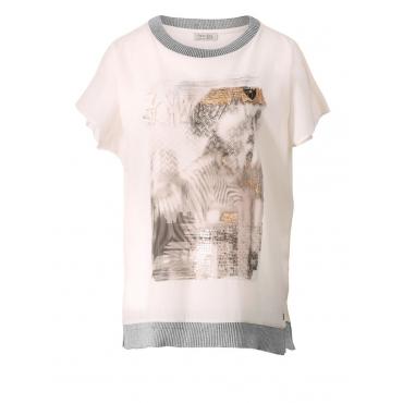 Shirt mit Pailletten OpenEnd natur bedruckt