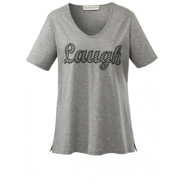 Shirt mit Schriftzug Lough Janet & Joyce grau melange