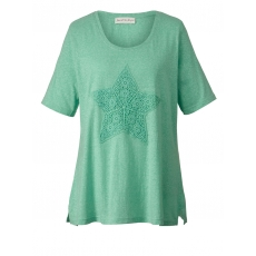 Shirt mit Spitze Janet & Joyce grün meliert