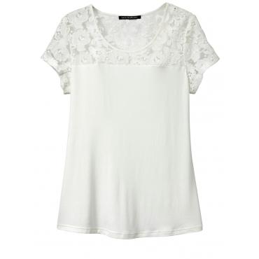Shirt mit Spitze Sara Lindholm ecru
