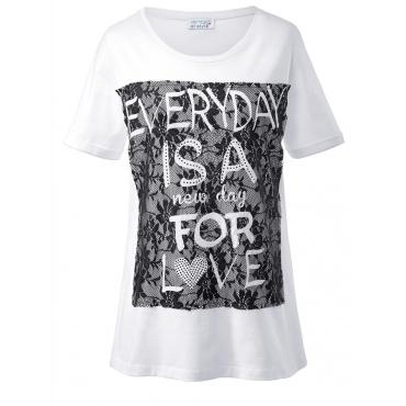 Shirt mit Spitze und Glitzersteinen Angel of Style weiß
