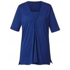 Shirt mit Spitzeneinsatz Sara Lindholm blau