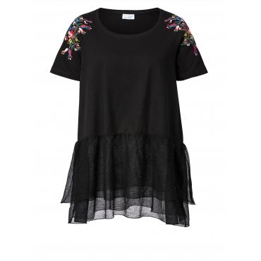 Shirt mit Volant und Stickerei Angel of Style Schwarz
