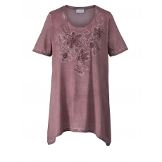 Shirt mit Zipfelsaum oil wash Angel of Style taupe