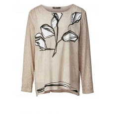 Shirt oil wash mit Blumen-Print No Secret taupe bunt