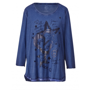 Shirt oil wash mit Pailletten Via Appia Due blau