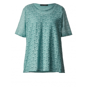 Shirt oil wash mit Spitze Sara Lindholm blau oil wash