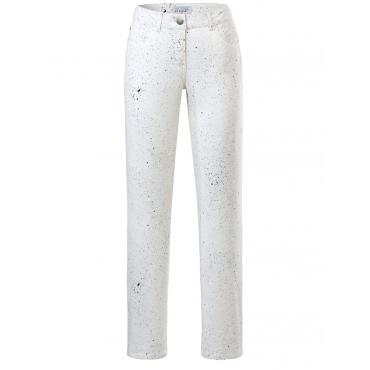 Slim-Fit-Hose mit Splash-Effekt Angel of Style offwhite gemustert